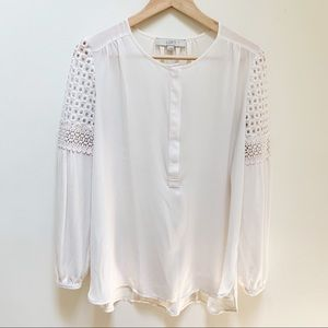 LOFT white scoop neck blouse eyelet sleeves S